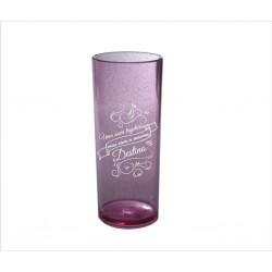 Copo Longo Rosa com Glitter. Código 3326 315 Ml