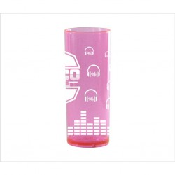 Copo Longo Rosa Neon com Glitter. Código 3542 315 Ml
